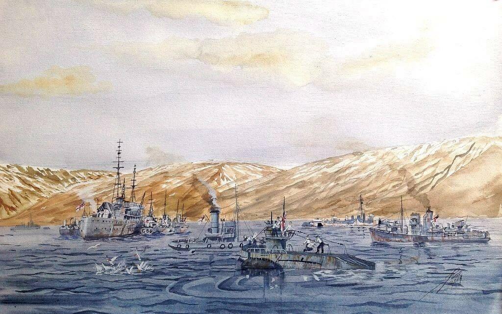 Captured U570 entering Hvalfjord, Depot Ship HMS Hecla ,Corvette HMS Windermere, destroyer HNS Burwell and Tug Gondia. The U-boat was captured by an RAF Hudson of 269.