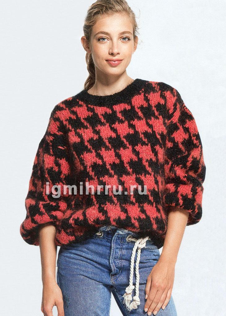Теплый пуловер с крупным узором Гусиные лапки. Вязание спицами