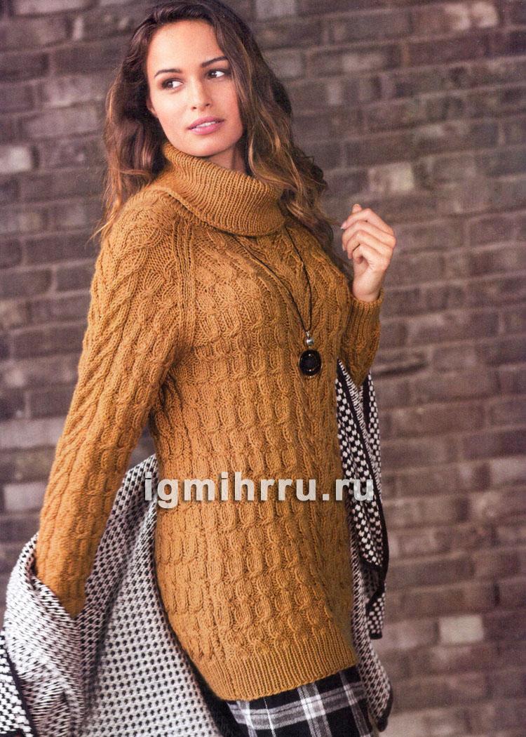 Теплый удлиненный свитер цвета охры с косами. Вязание спицами
