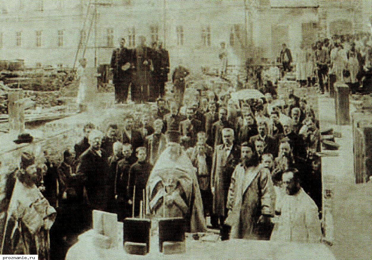 1907. Молебен перед закладкой нового корпуса Нижегородской губернской гимназии. 25 мая