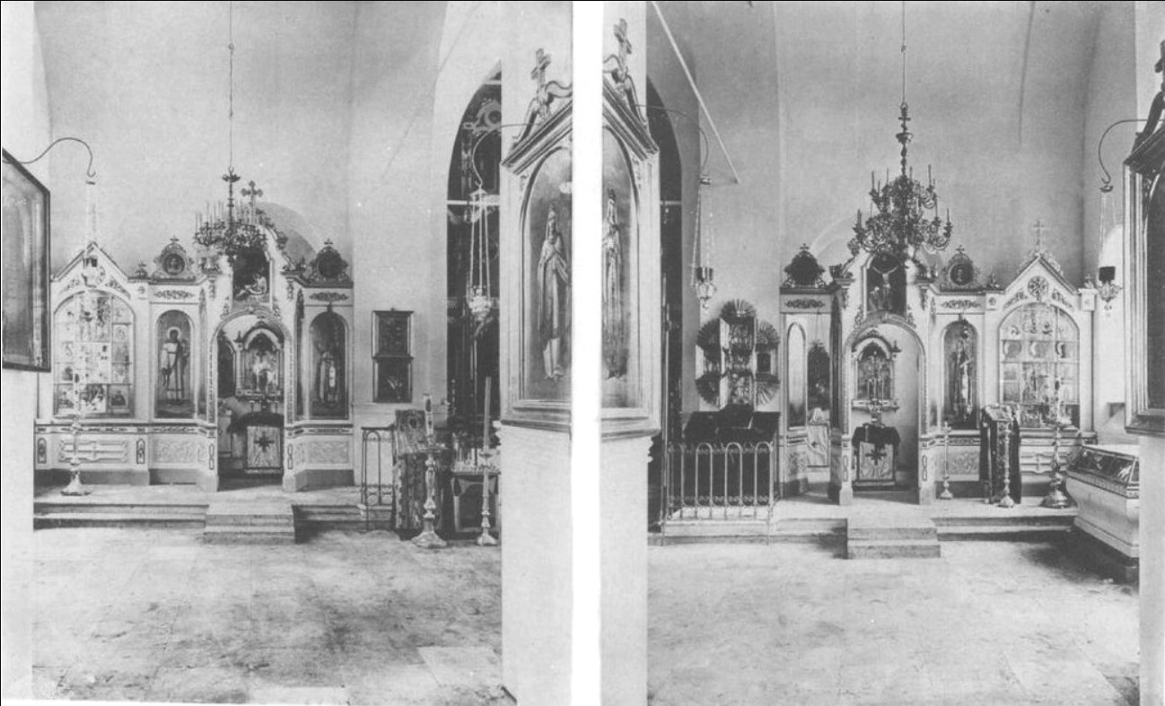 Новый Никольский храм в селе Сура, слева северный придел во имя святой мученицы Параскевы Пятницы, справа - во имя святого Иоанна Рыльского. 1891