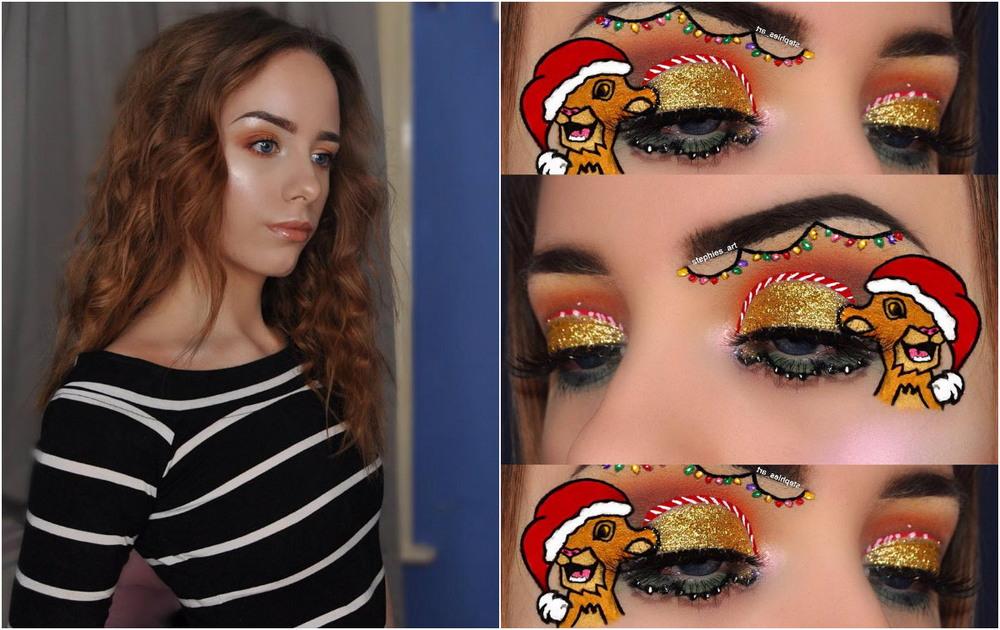 Девушка делает невероятный праздничный макияж