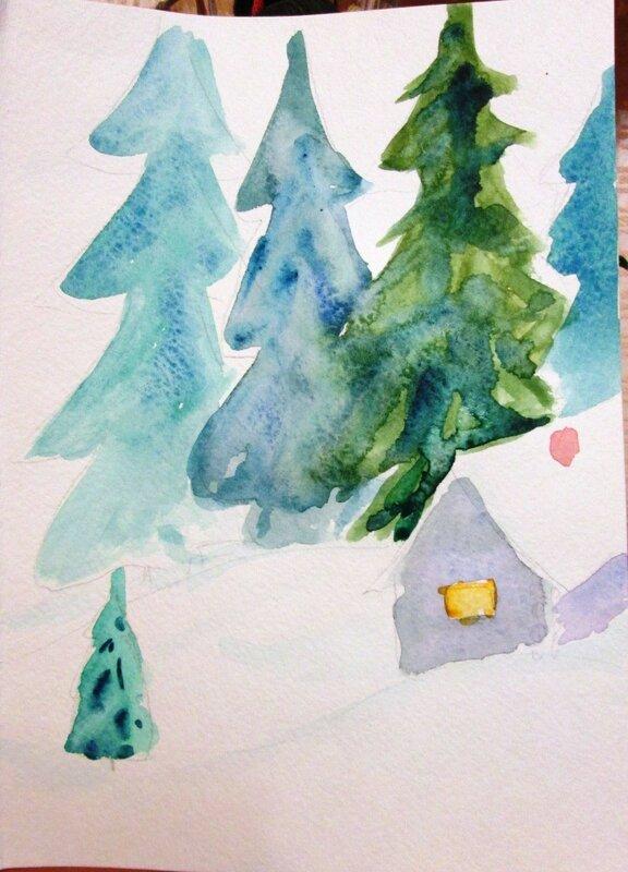 новогодние открытки с Сашей Балашовой. Домики