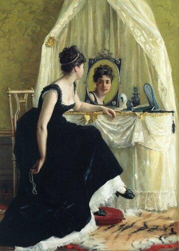 Бельгийский живописец Густав Леонард де Йонге Gustave Leonard de Jonghe (1829 — 1893) - Тщеславие