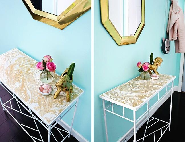 © abeautifulmess     Изысканно подобранная пленка сделает столик стильным иподходящим к