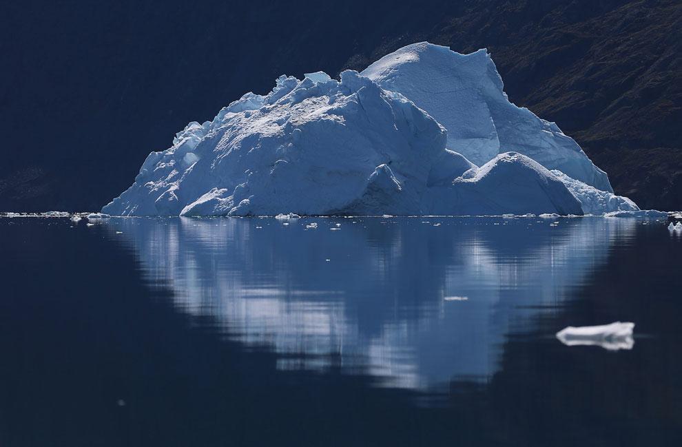 Пес на фоне потрясающего пейзажа с айсбергами, город Илулиссат, 17 июля 2013. (Фото Joe Raedle | Get