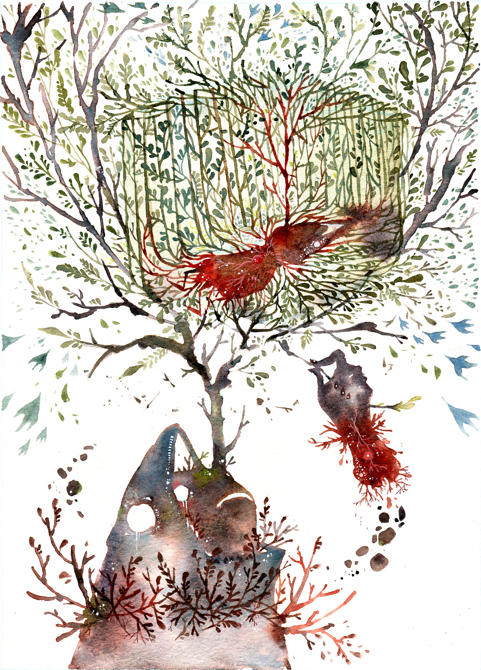 Watercolor Illustrations That Trace the Dark and Light Elements of Storybook Myths by Amber Ma
