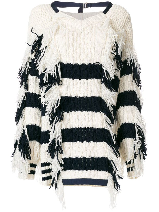 SACAI  striped fringed sweater