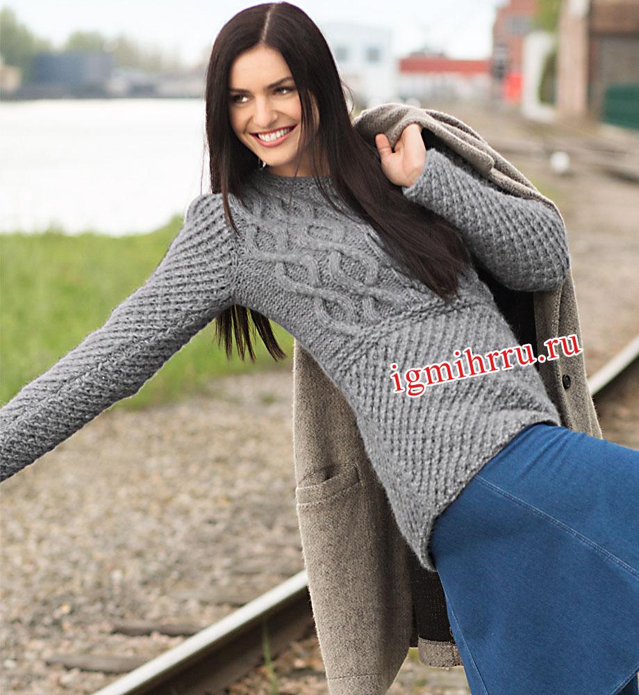 f02d8df09e8 Серо-голубой шерстяной пуловер с сочетанием узоров. Вязание спицами ...