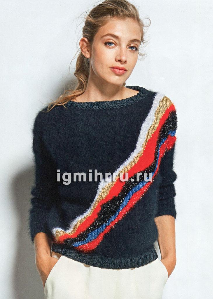 Черный пуловер с контрастными диагональными полосами. Вязание спицами