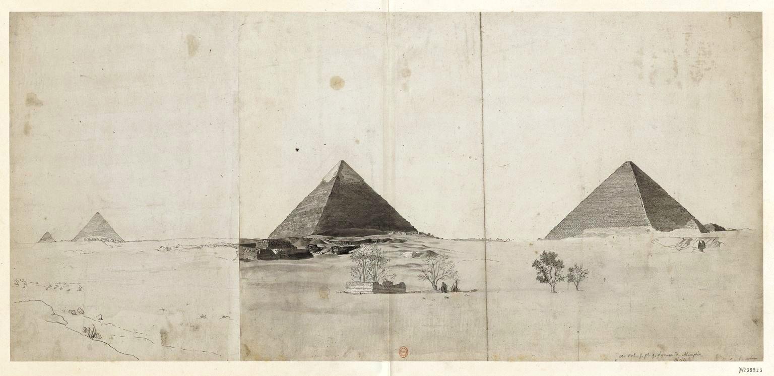 Пирамиды Гизы. Общий вид пирамид с юго-востока