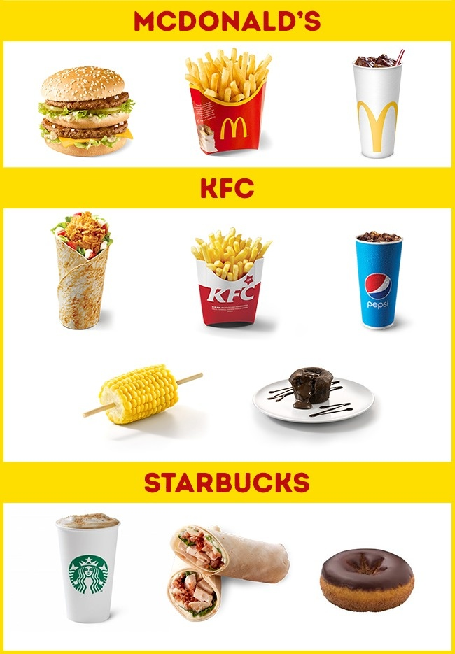 © McDonalds Spain   © KFC Spain   © Starbucks Spain      В Испании, так же как в