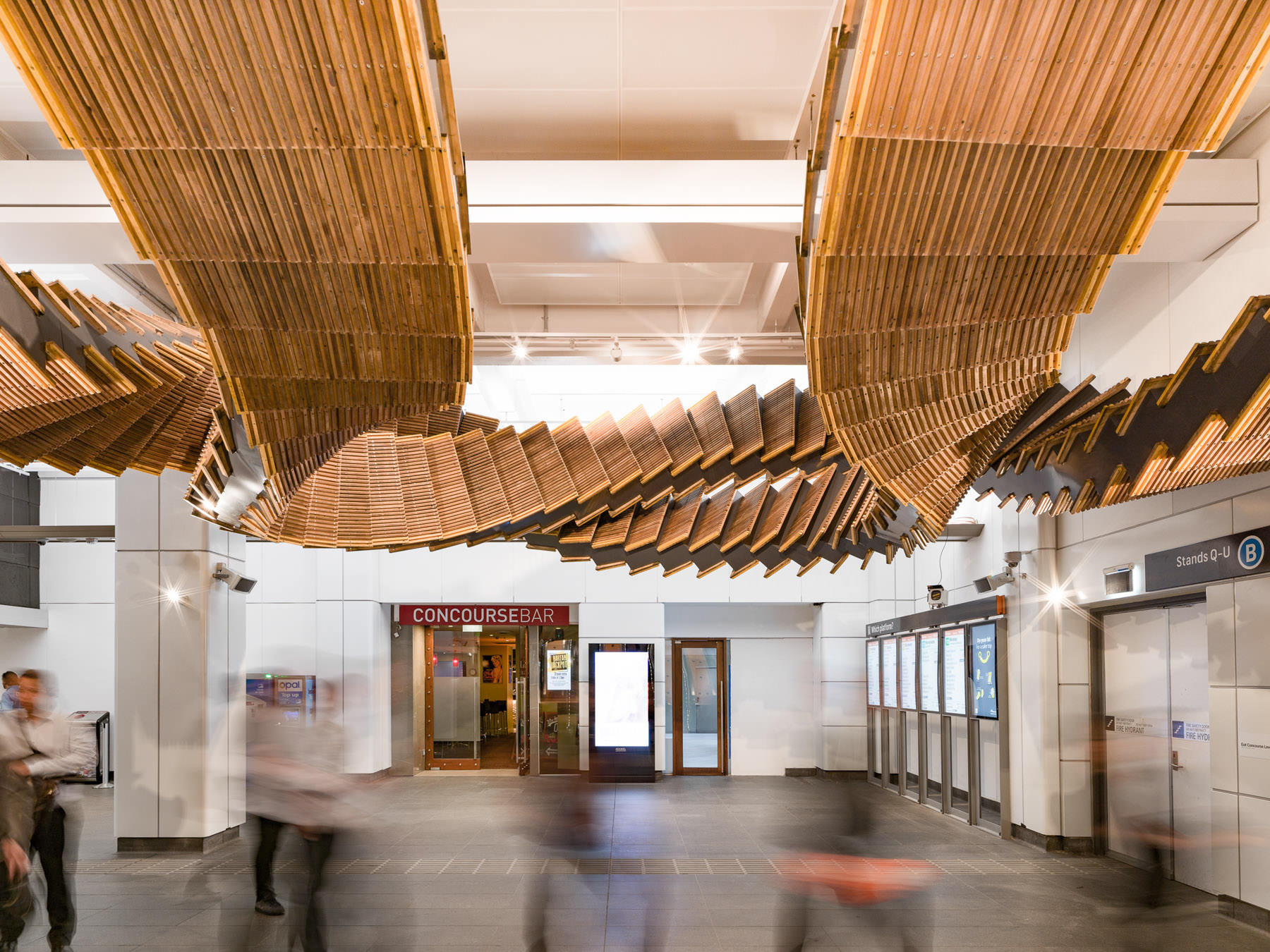Sculptural Installation Made from Historic Wood Escalators in Sydney