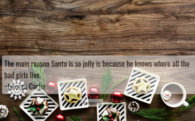 The main reason Santa is so jolly is because he knows where all the bad girls live. ~George Carlin