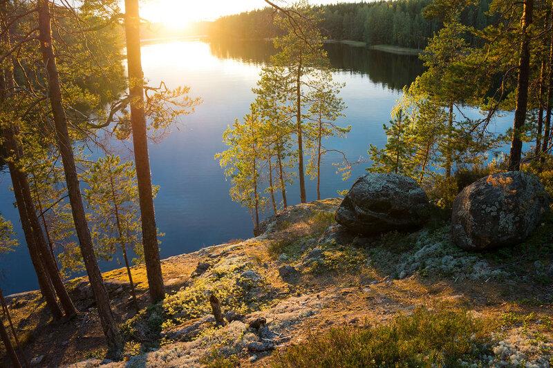 вечерний пейзаж на озере Реповеси (Repovesi)