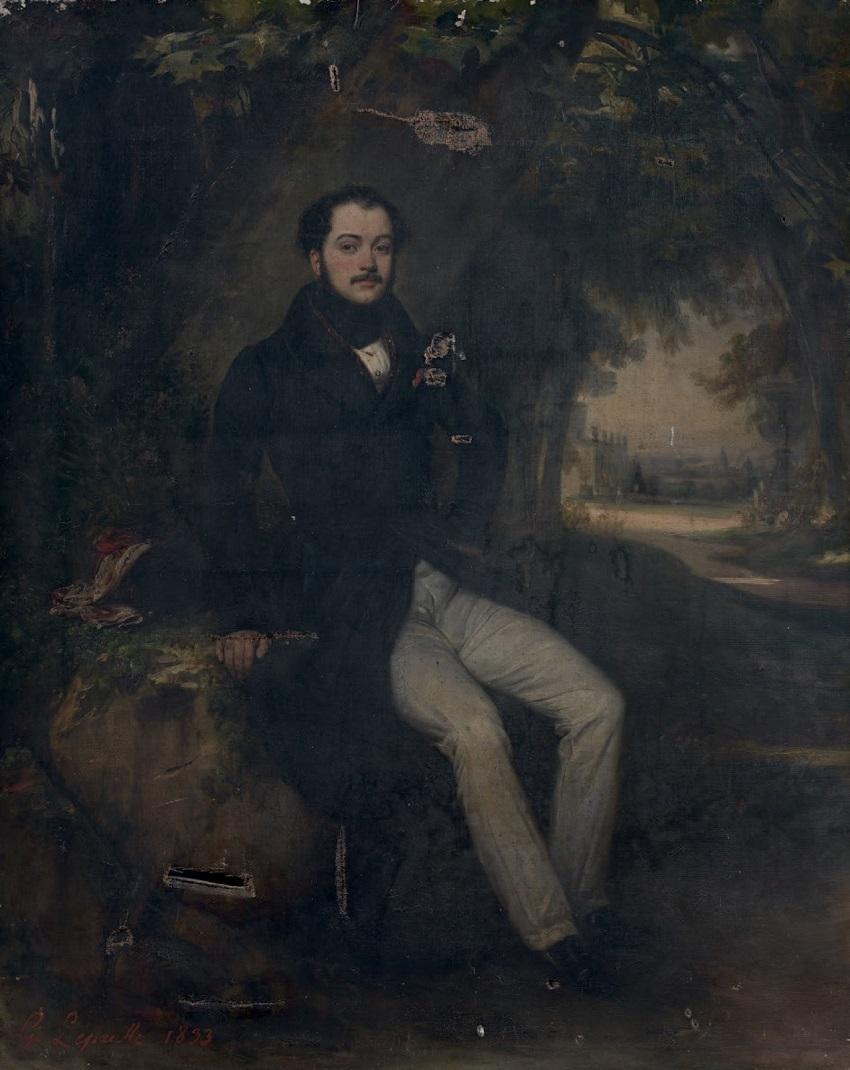 Portrait d'homme assis dans un paysage, 1833
