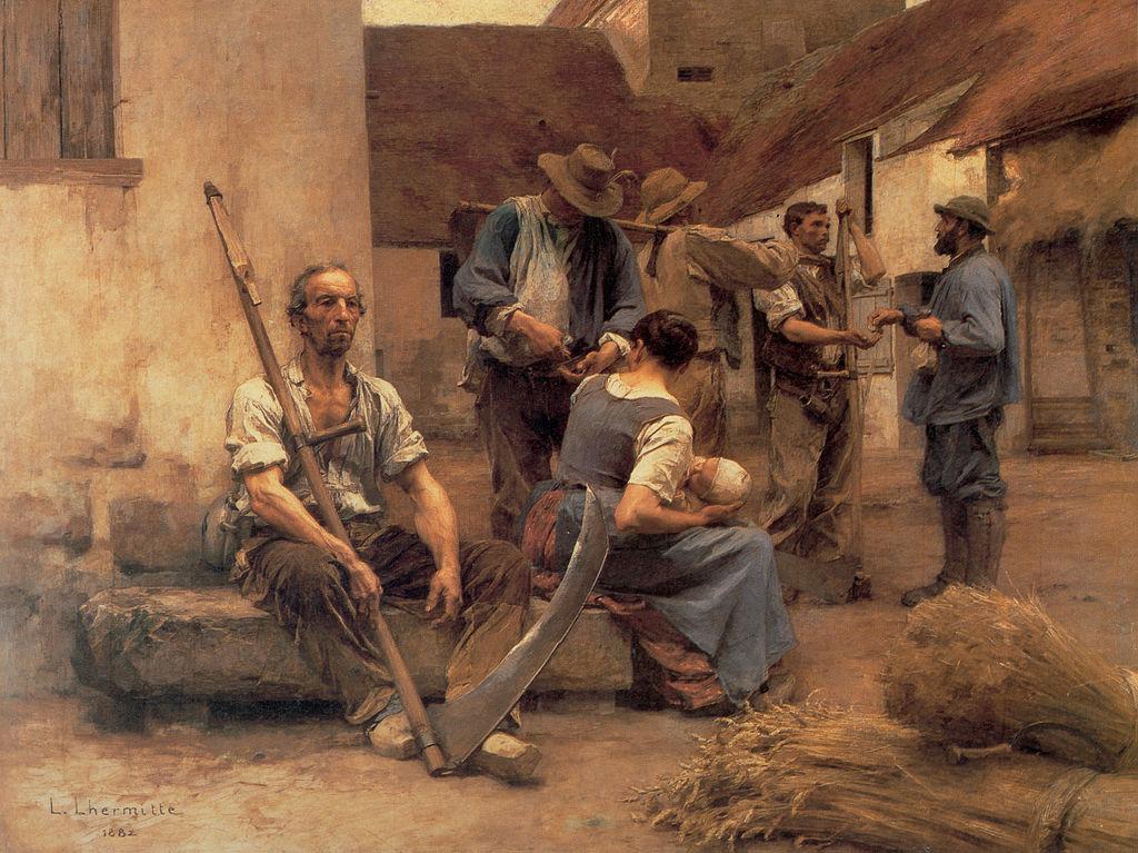 «Выдача жалованья жнецам» 1882,Леон-Огюстен Лермитт (1844-1925); Léon Augustin Lhermitte  (1844–1925); Франция