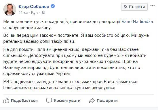 """""""Все должностные лица, причастные к депортации Вано Надирадзе, предстанут перед законом"""", - """"Самопомич"""""""