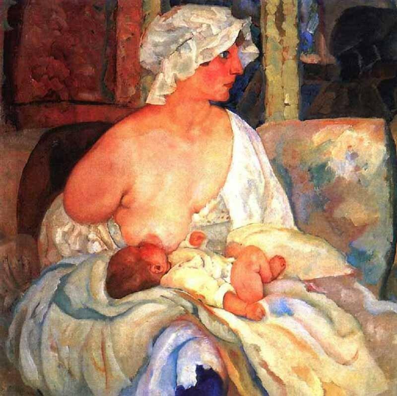 «Мать»(Е. Г. Григорьева, жена художника, с сыном Кириллом)1915г
