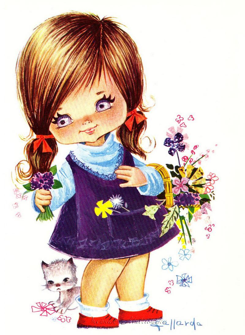 Открытки, открытка с изображением девочек