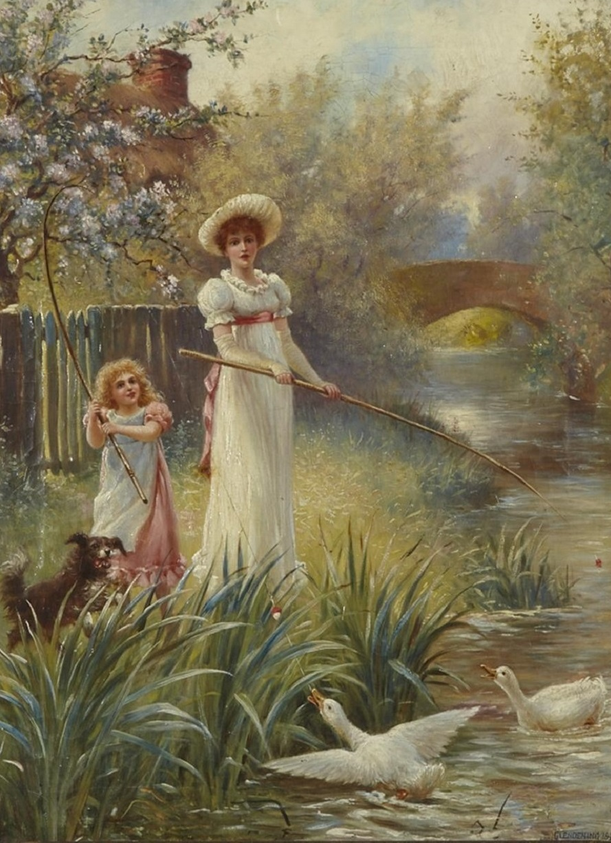 MOTHER AND DAUGHTER FISHING AT A POOL WITH GEESE British , 1896.Jpeg