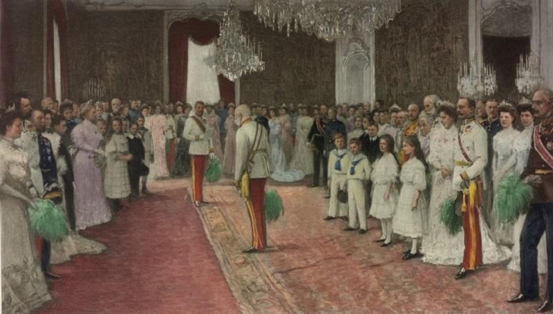 Huldigung der kaiserlichen Familie vor Kaiser Franz Joseph I. anlдsslich des sechzigjдhrigen Regierungsjubilдums am 2. 12. 1908
