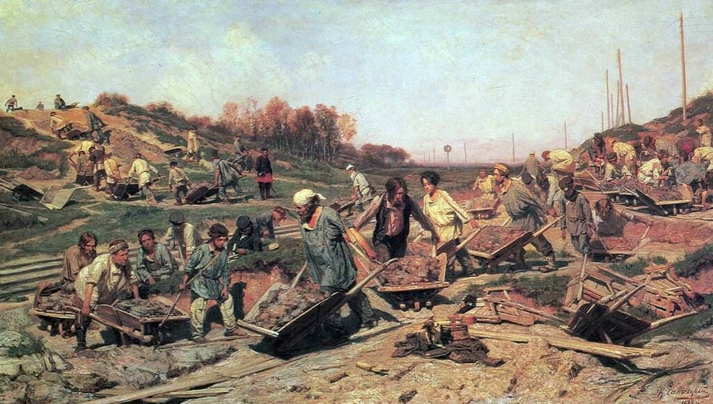 «Ремонтные работы, на железной дороге»1874.Холст, масло 100 х 175Государственная Третьяковская галереяМосква