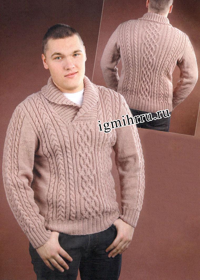 Мужской теплый пуловер с аранами и воротником шалька. Вязание спицами