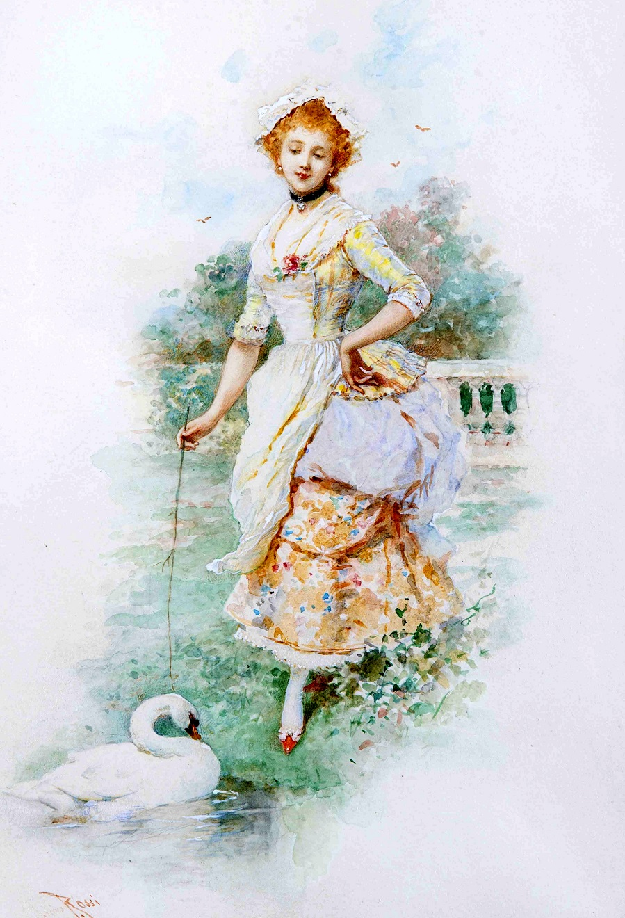 Galante junge Frau mit Taube