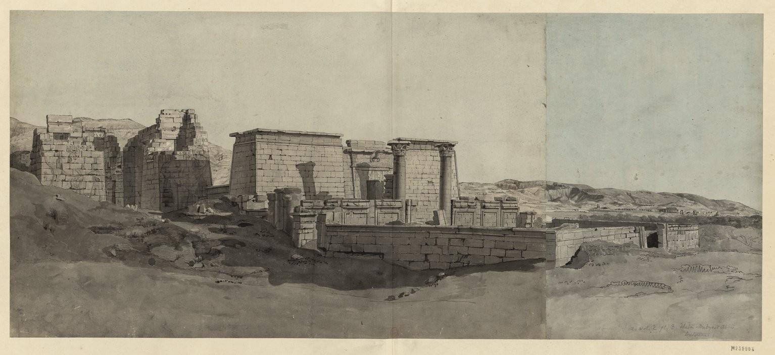 Мединет-Абу . Вид на пропилеи храма и павильона