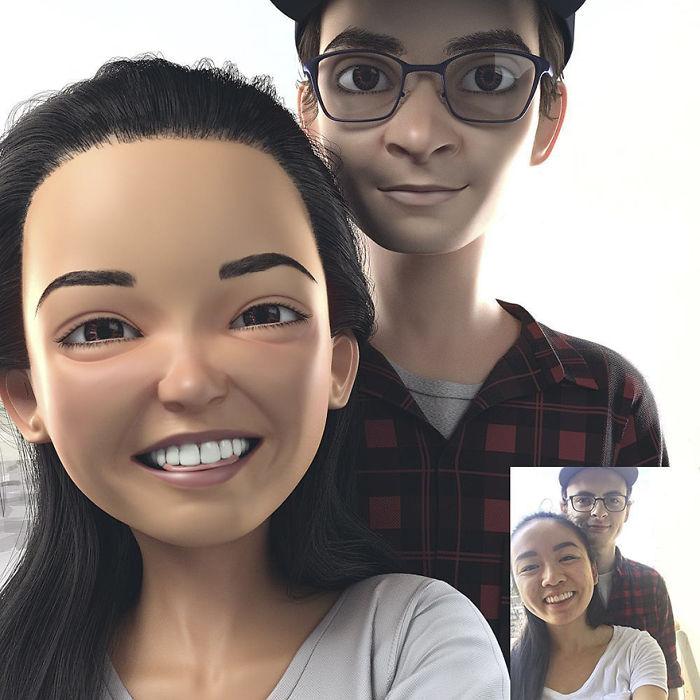 Художница превращает фото людей в 3D-картинки