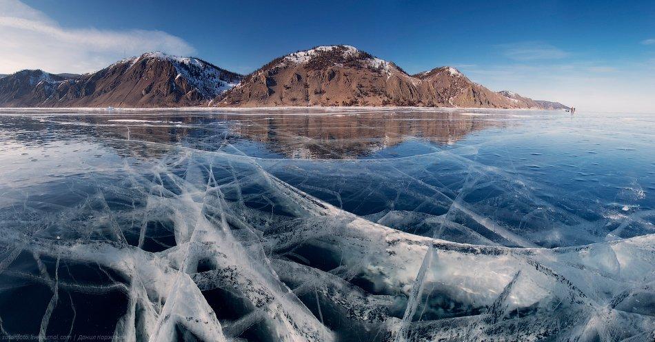 Как и показывали космоснимки, лёд — чистейший. Просто огромный каток. Просматриваются хорошо белые