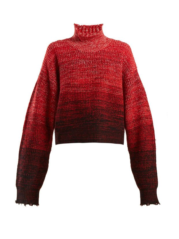HELMUT LANG  High-neck wool-blend degrade sweater