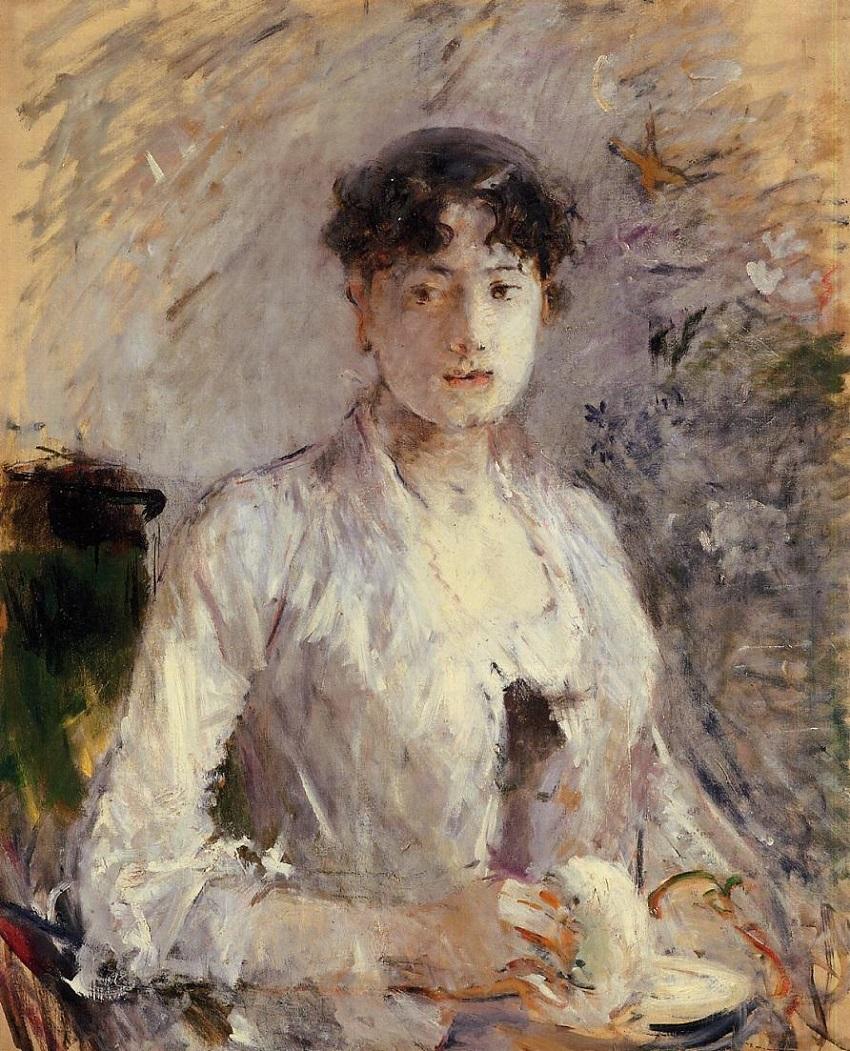 Jeune femme en mauve , 1880.