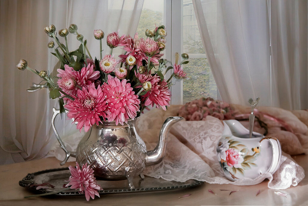 букетик хризантем...