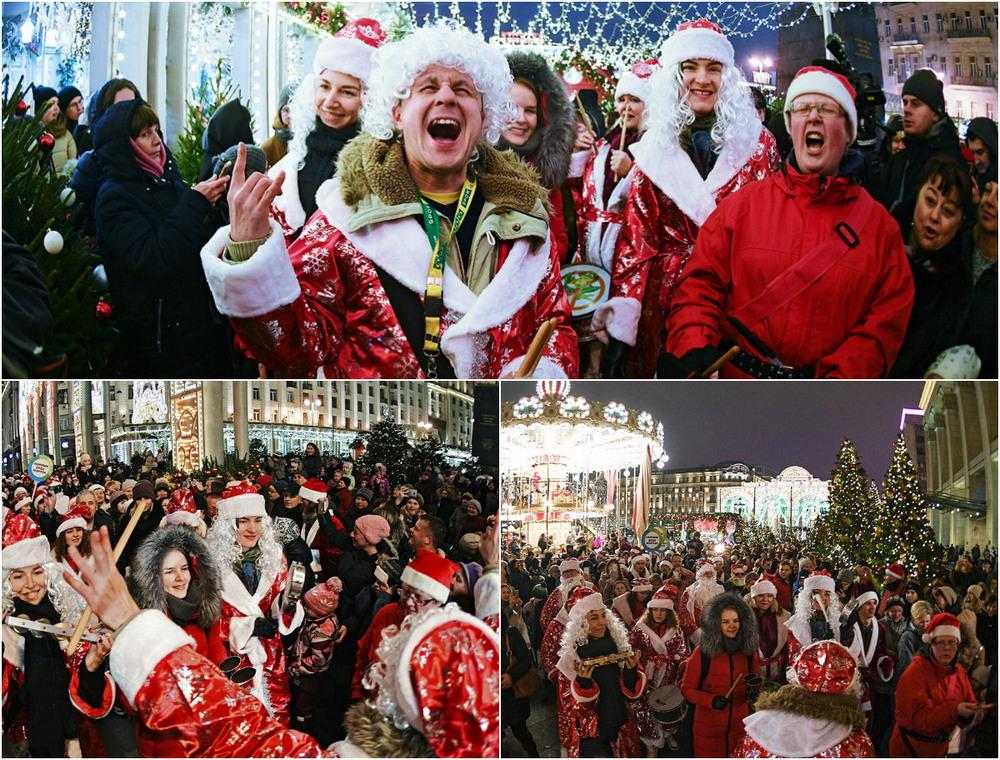 Парад Дедов Морозов в центре Москвы