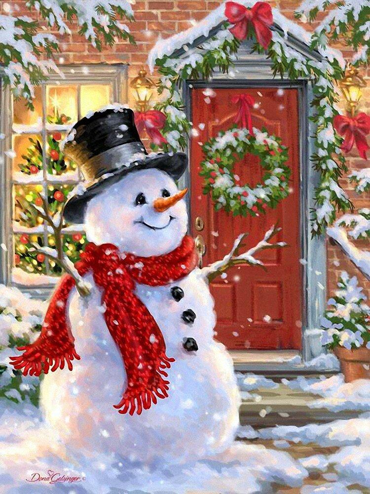Анимашки, новогодние картинки с домиком и снеговиком