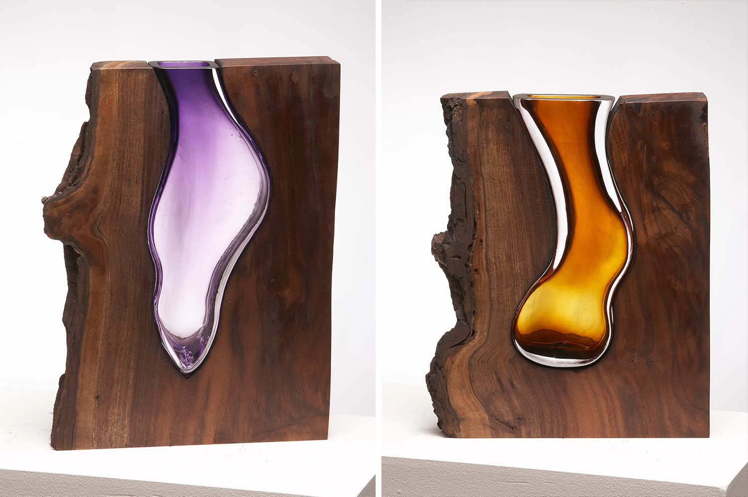 Glass Vases Formed Within Wooden Enclosures by Scott Slagerman Studio