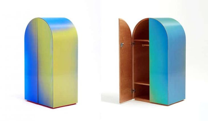 The smaller sideboard shimmers in shades of fuchsia, lilac, and sky blue. The taller wardrobe with d