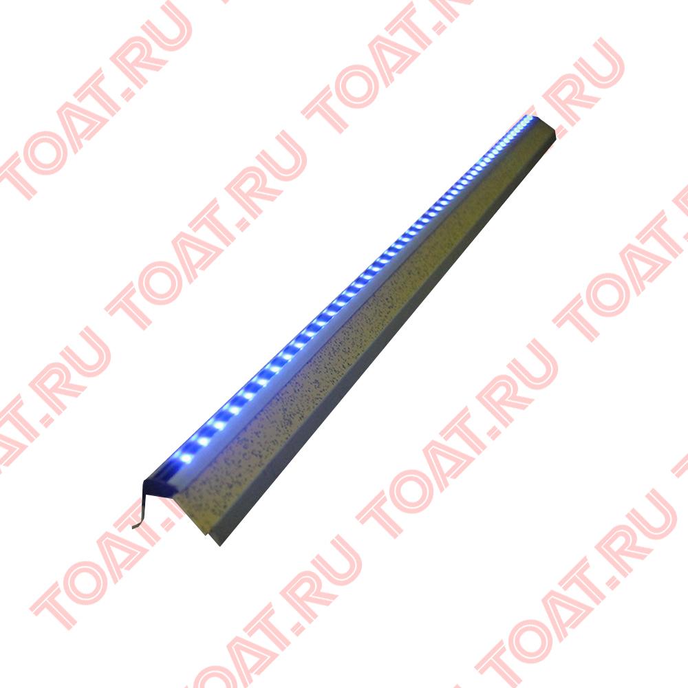 Алюминиевый профиль-уголок на ступеньку, Уголок алюминиевый для подсветки ступеньки с LED, герметичный, усиленный, свет — синий. Цена и наличие в штуках. Длина одного изделия - 1 метр.