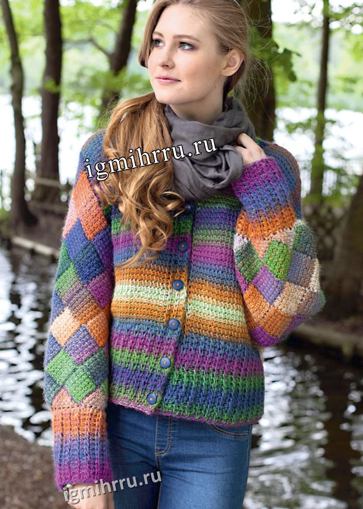 Шерстяной многоцветный жакет с плетеным узором. Вязание крючком