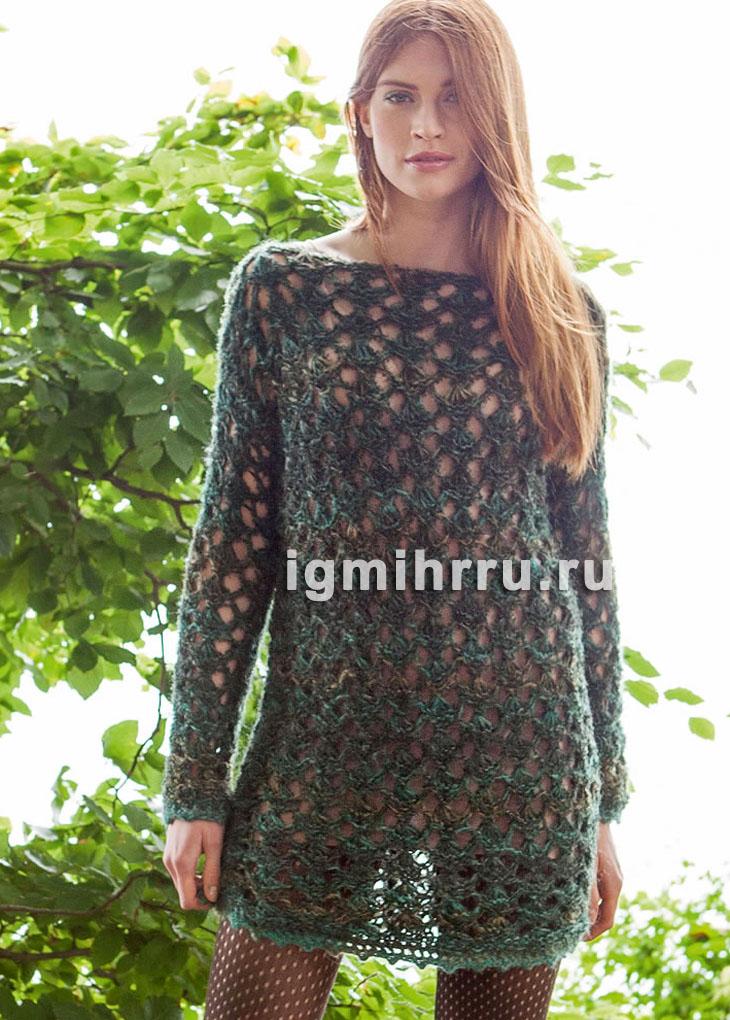 Короткое ажурное платье в зеленых тонах. Вязание спицами