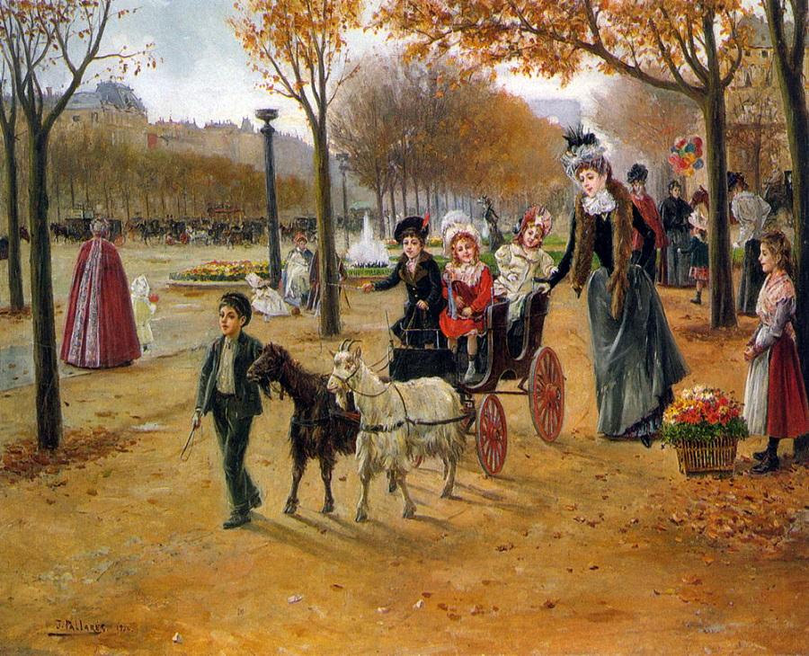 La promenade au Champs Elysées, 1900.