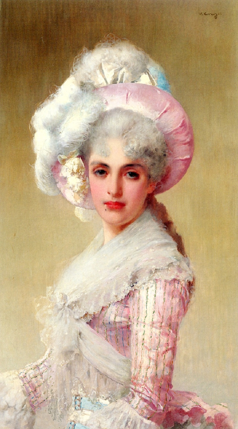 An Elegant Lady in a Pink Hat and Dress, 1888