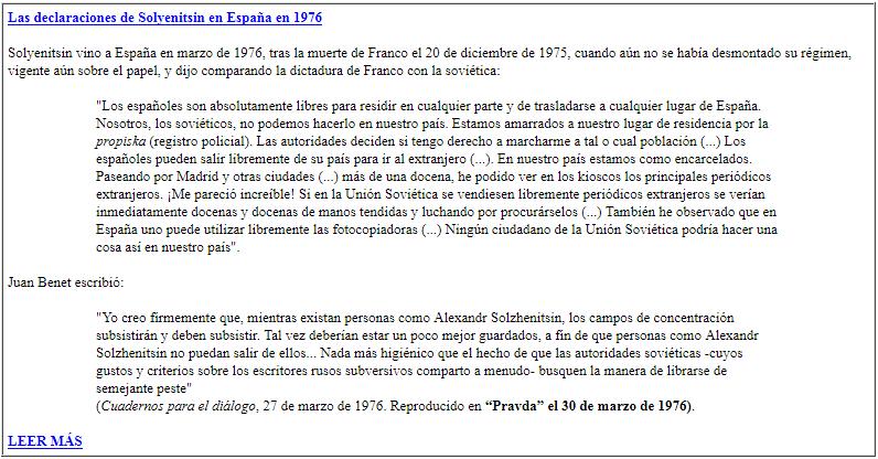 Las declaraciones de Solyenitsin en Espana en 1976