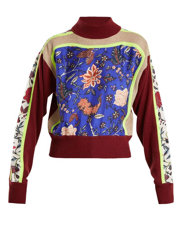 DIANE VON FURSTENBERG  Multi-print high-neck wool-blend sweater