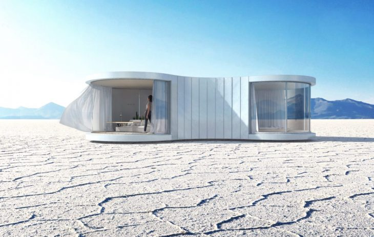 Christophe Benichou   designed LUMISHELL, a prefab curved dwelling intended to be i