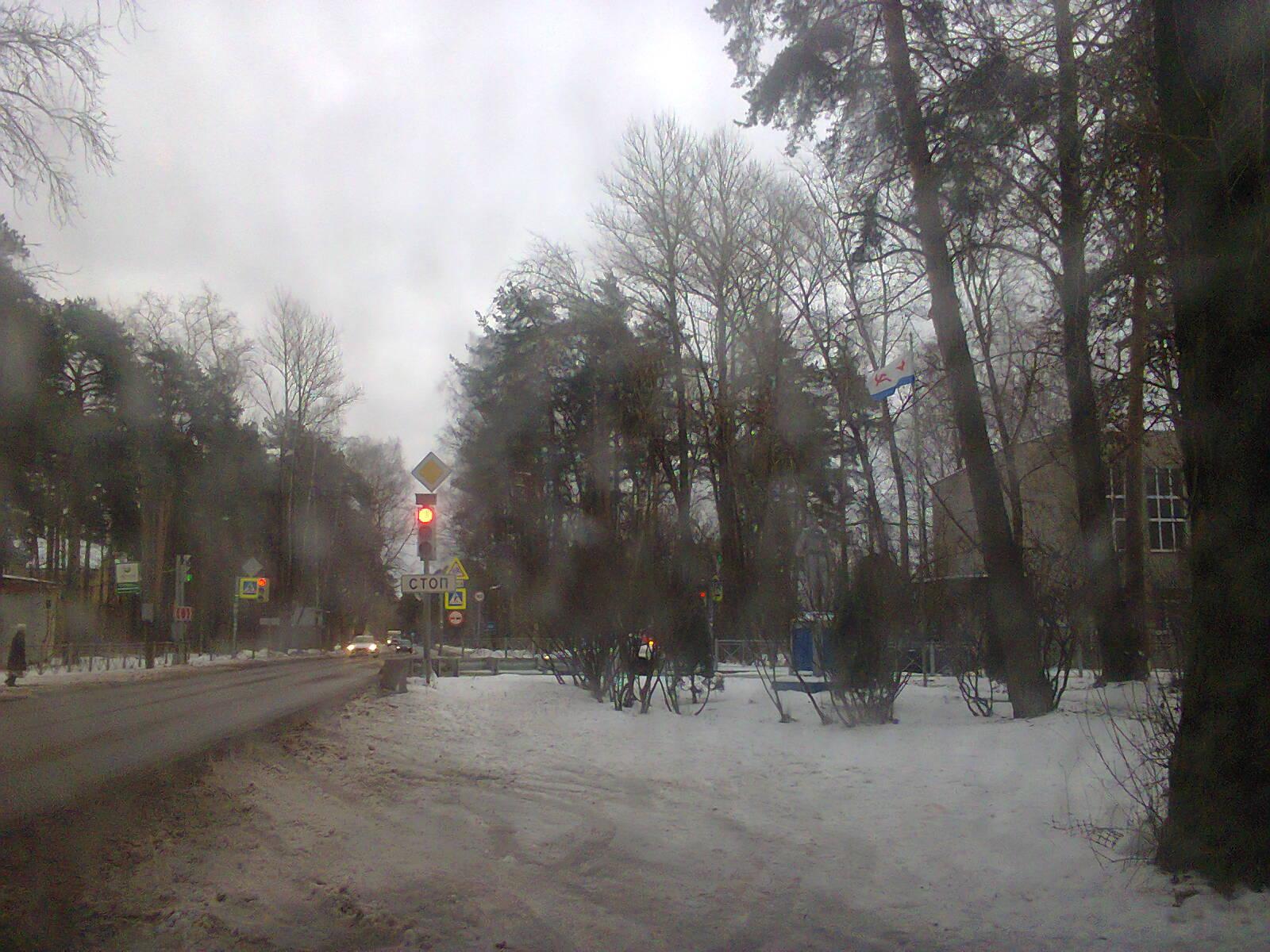 Памятник морякам-балтийцам на синем бетонном постаменте среди кустов и деревьев. Справа видна общеобразовательная школа на улице Асанина.