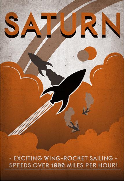 Retro Solar System Travel Posters - Luke Minner & Naomi Wilson