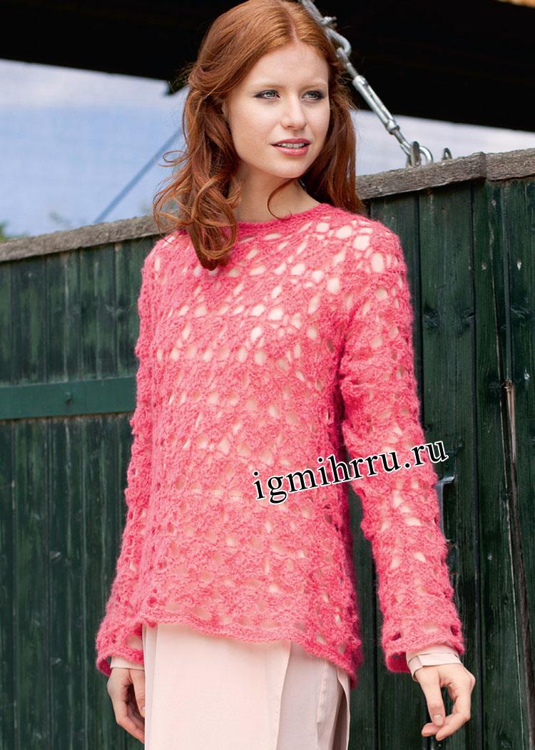 Нежный розовый пуловер с кружевным узором. Вязание крючком